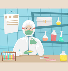 The man in bacterial protection examines vector