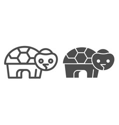 Turtle line and solid icon simple silhouette of vector