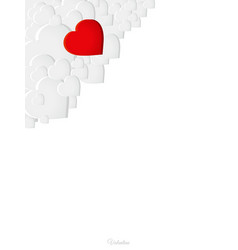 Valentine copy space white sheet with hearts and vector