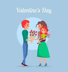 valentines day poster with family vector image