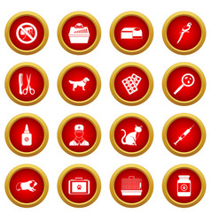 Veterinary icon red circle set vector