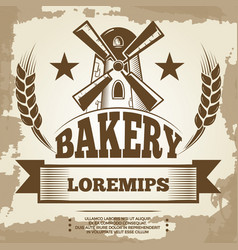 Vintage bakery poster design - bakery label with vector