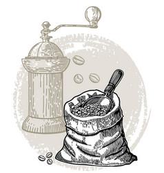 Vintage coffee coffee grinder vector