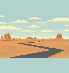 Western desert landscape with a broken line road vector