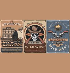 wild west cowboy skull sheriff guns star saloon vector image