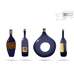 wine bottles Doodle style vector image