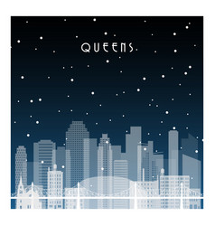 winter night in queens nyc night city vector image