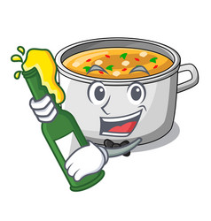 With beer cartoon homemade stew soup in the pot vector