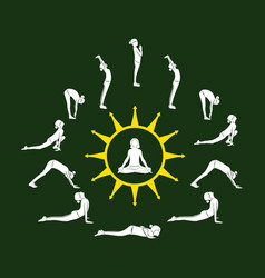 woman doing surya namaskar vector image