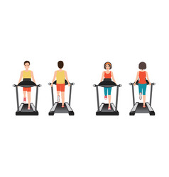 young adult man and woman running on treadmill vector image