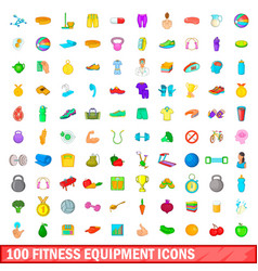 100 fitness equipment icons set cartoon style vector image vector image