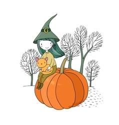 Autumn theme halloween vector