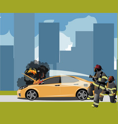 car fire icon with fireman vector image