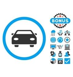 Car Flat Icon with Bonus vector image