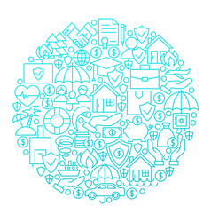 insurance line icon circle design vector image vector image