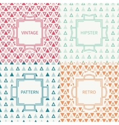 Set of mono line polygon hipster seamless pattern vector image vector image