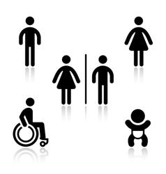Toilet black set pictograms vector