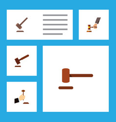 flat icon court set of law tribunal defense and vector image vector image