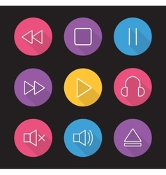 Multimedia flat linear long shadow icons set vector image