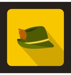 Oktoberfest tirol hat icon flat style vector image vector image