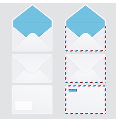 Set of 6 glossy envelope icons vector