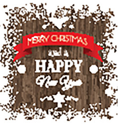 christmas background with snowy border and wooden vector image vector image