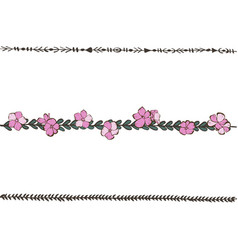doodle floral line with pink phlox flowers flower vector image