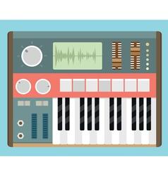 Flat old analog synthesizer vector image