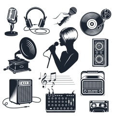 Karaoke Elements Monochrome Vintage Set vector image vector image