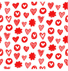 red hearts shapes romantic seamless pattern vector image vector image