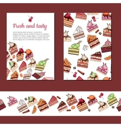 Template with different fruit cake slices vector image