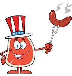 Uncle Sam Steak Cartoon vector image vector image