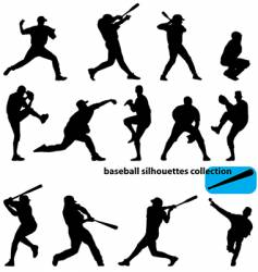 baseball silhouettes vector image