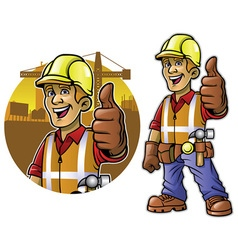 Cartoon of construction worker with thumb up hand vector