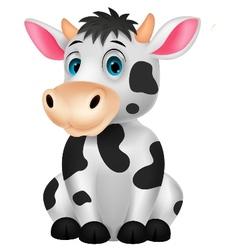 Cute cow cartoon sitting vector image