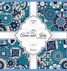invitation card with blue doodle pattern vector image