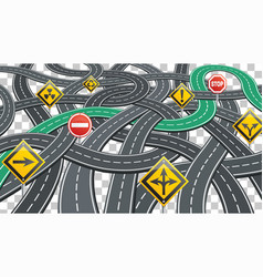 road infographics with signposts vector image vector image