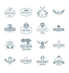 rock music logo icons set simple style vector image