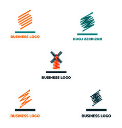 a set of abstract logos from five pieces vector image