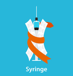 a syringe and two blisters wrapped in ribbon vector image