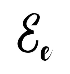 Alphabet letter e lettering calligraphy manuscript vector