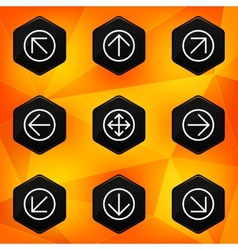 Arrow Hexagonal icons set on abstract orange vector image