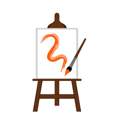 art canvas with a brush icon vector image