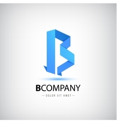 B blue letter origami logo 3d icon for vector