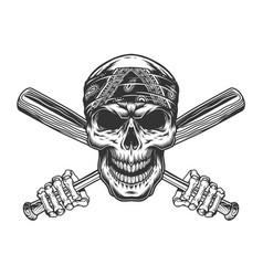 bandit skull in bandana vector image