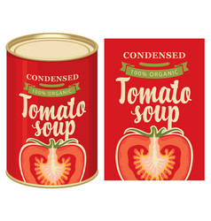 Banner for tomato soup with a tin can and a label vector
