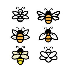 Bee set simple line art honey vector