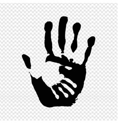 black hand print isolated transparent background vector image