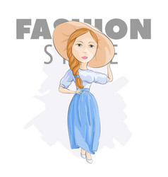 Blonde in a hat on a white background vector