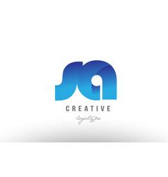 blue gradient sa s a alphabet letter logo vector image
